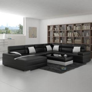 Modern U Shape Black Leather Sofa