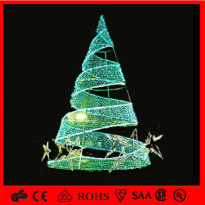 green outdoor led decoration motif spiral christmas tree