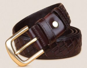 Top Layer Cow Leather Weave Belt pictures & photos