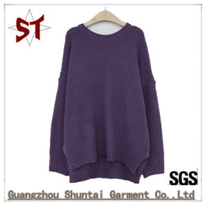Ladies′fashion Pure Color Bat Sleeve Round Neck Sweater with Long Sleeve Ladies Sweater