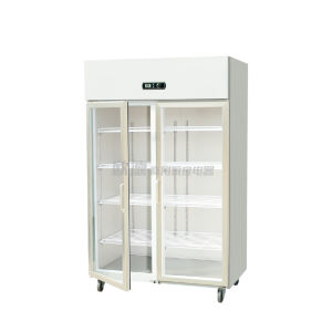 Commerical Kitchen Upright Ventilated Cooling Double Glass Door Refrigerator