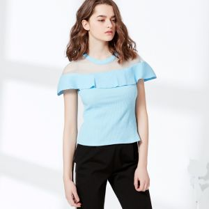 Fashion Mesh Top 2*2 Rib Cotton T-Shirt Blouse pictures & photos