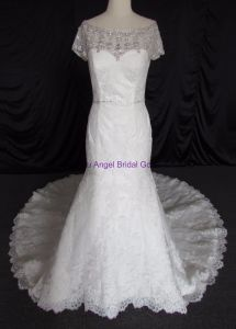 Beautiful Sweetheart Lace Appliqued Crystal Wedding Gowns pictures & photos