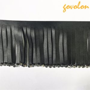 2017 Fashion Black Leather Fringe/Tassel with Metal Button pictures & photos