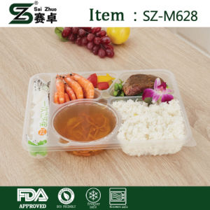 Rectangular 6 Compartment Disposable Plastic Food Container with Lid (1000ml) pictures & photos