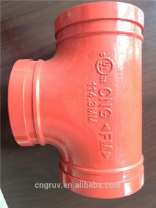 FM /UL Approved Ductile Iron Pipe Fitting, Grooved Tee