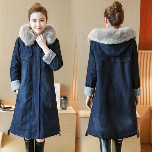 d593fa091ea 2018 Plus Size Thick Long Sleeve Denim Jacket Women Warm Coat Outerwear Fur  Collar Hooded Denim Coat Winter Coats Fashion Denim Jacket Outer Winter  Jeans ...