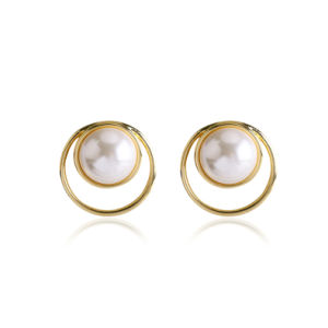 Silver Earrings By CS-DB White Water Drop Pearl Cubic Zirconia Waves Stud Earrings For Womens