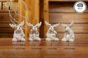 White Ceramic Craft Art-Christmas Deer Decorations