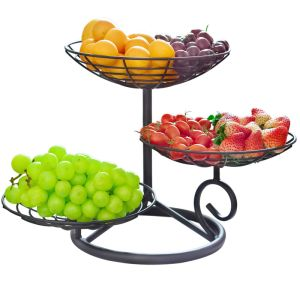 All in One 3-Tire Fruit Basket Bowl Metal Wire Baskets Standing Baskets for Fruit Vegetable Produce Bread Snacks Potpourris