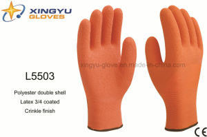 Polyester Double Shell Latex 3/4 Coated Crinkle Finish Safety Work Glove (L5503) pictures & photos
