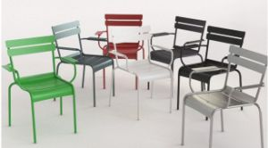 Stackable Colorful Luxembourg Leisure Metal Dining Chair with Armrest