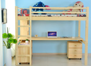 Children Wooden Bunk Bed With Study Table (M X1012)