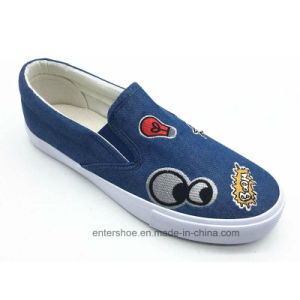 Navy Color Slip on Women Canvas Shoes with Embroidery (ET-OW170478W)