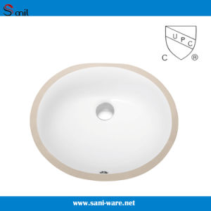 Popular Cupc Certificate Oval Bathroom Undermout Ceramic Basins (SN007)