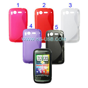 TPU Case with Double S Shape for HTC Desire S (G12) (KMTC-4545)