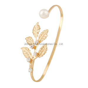 Fashion Leaf Hand Palm Bracelet Bangle Cuff Ring Imitation Pearl Jewelry