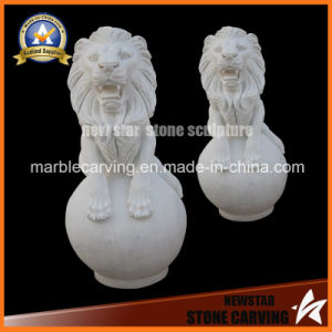 White Marble Stone Carving Lion Animal Sculptures for Garden Sculpture pictures & photos