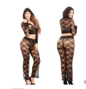 d0d3d2d7aef5f China Sexy Women Lingerie Set Lace Transparent Bodysuit Sexy Hooded ...