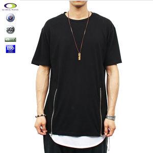 e792a21c China Mens Elongated Plain Hip Hop Long Tall Tee Side Zipper Tshirt ...