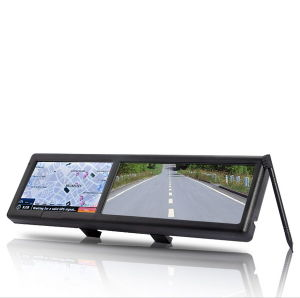 Bluetooth Rearview Mirror with Built-in GPS Navigation (4.3 Inch Touchscreen)