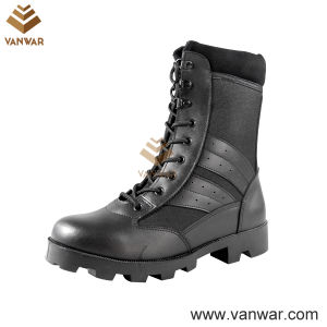 Full Leather Black Military Combat Boots with High Quality (WCB036)