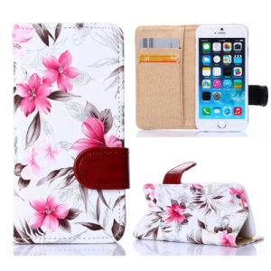 2015 New Design Flower Leather Case Cover for Apple iPhone 6