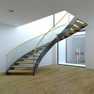 Prefabricated Luxury Steel Glass Stairs Interior Curved Staircase For  Mansion