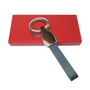 Promotional Gifts Metal Leather Key Ring with Stamp Logo (F3069)