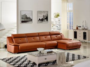 China Simple Design L Shape Leather Sofa with Chaise - China Leather ...