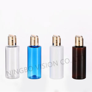 Amber Blue Clear Cylinder Cosmetic Bottle with UV Coating Disc Top Cap pictures & photos