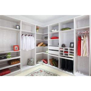 Linear Melamine Wood Walk In Closet Without Door For Apartment