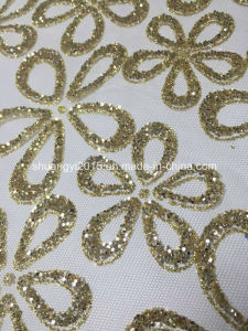 Yellow Shining Flower Glitter and Lace for Garments pictures & photos