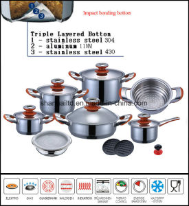 Impact Bonding Bottom Stainless Steel 304 16PCS Cookware Set pictures & photos