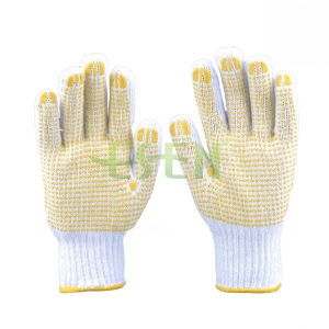 Bleach Cotton Gloves, Knitted Yellow PVC Dots Gloves (D16-H2)