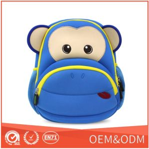 2016 New Cute Monkey Children Child School Backpack with Neoprene Waterproof Material
