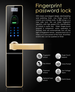 Intelligent Electrical Anti-Theft Fingerprint & Password Door Locks (UL-880) pictures & photos