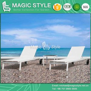 Textile Sunlounger Without Armrest Sling Sun Bed for Stackable (Magic Style) pictures & photos