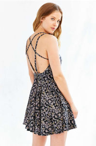 European Latest Sexy Fashion Backless Flower Print Lady Dress pictures & photos