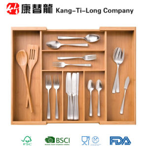 Classics Expandable Bamboo Cutlery Utensil Flatware Drawer Organizer