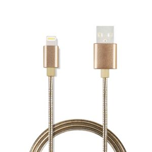 Spring Metal Braid Sync and Charge USB Cable for Apple 8-Pin Devices