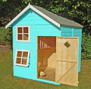 Blue Solid Wooden Children Play House with Doors