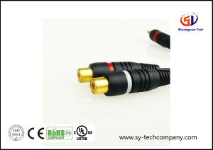 Audio Cable, 1RCA Male Convert to 2RCA Female AV Wires, 24k Gold Plated pictures & photos