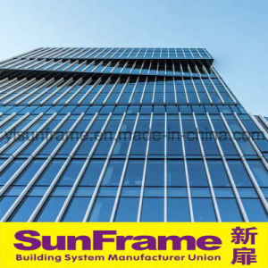 Aluminium Unitized Glazing Curtain Wall System in Semi-Expose Frame pictures & photos