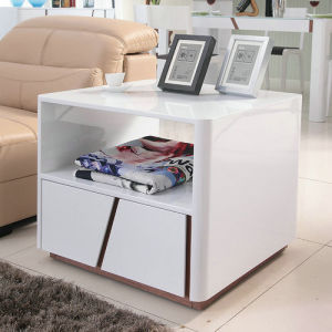 Modern MDF Sofa Side Table in High Glossy White (S1608)