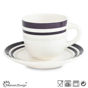 8oz Ceramic Cup and Saucer with Simple Elegant Design pictures & photos