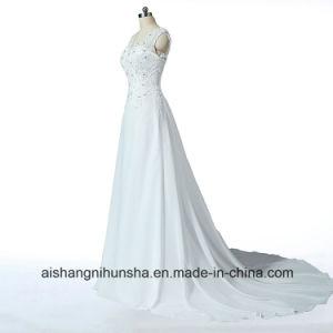 74917c500 Elegant V-Neck Wedding Dress Appliques Beaded Chiffon Cheap Wedding Dress