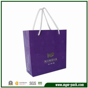 Exquisite Purple Paper Shopping Bag with Handles pictures & photos