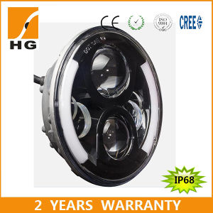 Two Sides Angle Eyes 7inch Round LED Headlights for Truck