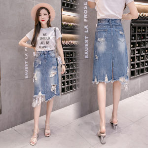 New Fashion Lace Ripped Denim Skirts Women Summer Long Jeans Skirts High Waist Casual Plus Size Skirts Patchwork Casual A-Line Skirt Tassel Button Denim Skirts